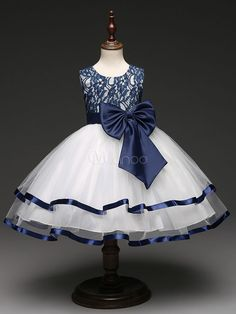 Flower Girl Dresses Lace Tulle Round Neck Sleeveless Princess Tutu Dress  Dark Navy Bows Ankle Length Dinner Party Dresses 430f642c11f6