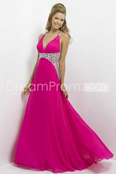2014 Long V-Neck Sleeveless Beading A-Line Chiffon Prom Dresses need this dress!!!!!