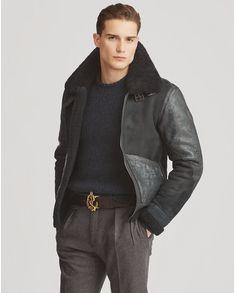 produt-image-0.0 Mens Leather Coats, Leather Jackets, Purple Label, Preppy Mens Fashion, Fashion Men, Madrid, Shearling Vest, Aviator Jackets, Street Outfit
