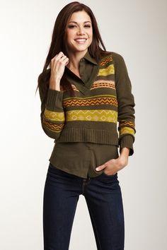 Shu Shu Combination V-Neck Sweater from HauteLook on shop.CatalogSpree.com, your personal digital mall.