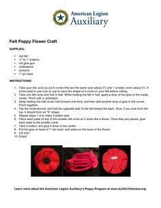 We've had several folks ask us about a felt poppy craft. These cute flowers are super-easy to make. Use them as a pin, on a headband, as a bow on a gift—wherever you need a little pizzazz to promote and support your unit's ALA Poppy Program!
