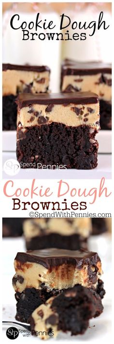 salmon Rich fudgy brownies with an eggless cookie dough layer topped with a silky chocolate ganache! These are amazing.Rich fudgy brownies with an eggless cookie dough layer topped with a silky chocolate ganache! These are amazing. Yummy Treats, Delicious Desserts, Sweet Treats, Dessert Recipes, Yummy Food, Pudding Desserts, Pudding Cake, Cookie Dough Brownies, Fudgy Brownies