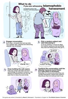 How to intervene if you witness Islamophobic harassment. Artist Maeril made this illustrated guide a few months ago, but it's now more relevant than ever.