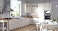 IKEA has brought back the traditional kitchen style with METOD. And, we expect IKEA will do the same for its American twin, SEKTION. Ikea Bodbyn Kitchen, Ikea Kitchen Cabinets, White Cabinets, Glass Cabinets, Upper Cabinets, Maple Cabinets, Kitchen Appliances, Wood Cabinets, Ikea Kitchen Design