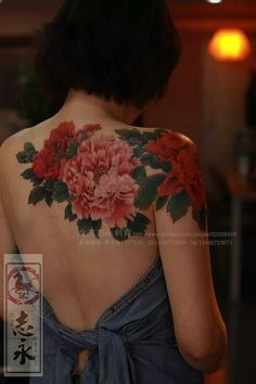 Chronic Ink Tattoos — Colour peony flowers shoulder/back tattoo by. ink tattoo kchen Chronic Ink Tattoos — Colour peony flowers shoulder/back tattoo by. Cover Up Tattoos, Body Art Tattoos, Sleeve Tattoos, Ink Tattoos, Colour Tattoos, Irezumi Tattoos, Skull Tattoos, Foot Tattoos, Tatoos
