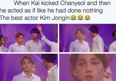 Find images and videos about kpop, exo and chanyeol on We Heart It - the app to get lost in what you love. Kdrama Memes, Funny Kpop Memes, Exo Memes, K Pop, Chanyeol Baekhyun, Exo Kai, Exo Ot12, Chanbaek, Fanfic Exo