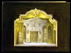 Scene Design: Scale set models for theatrical productions by Oliver Messel, found in the Rizzoli art book, Oliver Messel: In the Theatre of Design. Theater, Toy Theatre, Set Design, Design Model, Stage Design, Art Fund, V & A Museum, Rococo Style, Scenic Design
