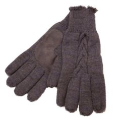 Isotoner Womens Gray Cable Knit Gloves Soft « Clothing Impulse