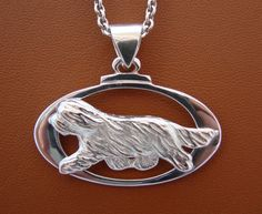 Large Sterling Silver Bearded Collie Moving Study On by BestK9buds, $140.00