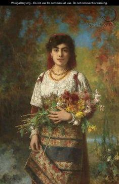 Gypsy Girl   Gypsy Girl With Flowers - Alexei Alexeivich Harlamoff