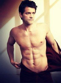 Misha Collins without a shirt and with an awesome body.