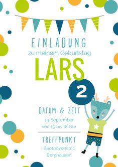Schön Einladungskarte Zum 2. Geburtstag Mit Fröhlichem Waldtier Und Blau Grünen  Konfetti