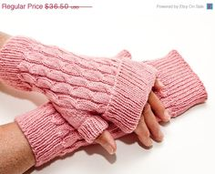 SALE Hand Knit Staggered Cable Mitts with Cuffs by byhandbyjean, $31.03