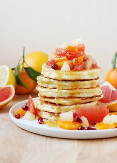 Citrus Ricotta Pancakes: These ricotta pancakes are extra fluffy, with an enticing milky taste and a custardy texture. The citrus fruit topping will brighten your breakfast table! // FoodNouveau.com