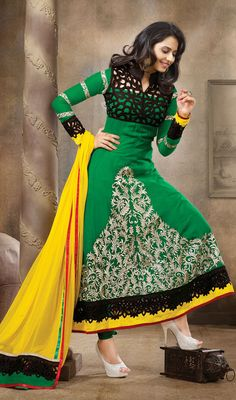 Green Heavy Embroidered Georgette Anarkali Dress Price: Usa Dollar $148, British UK Pound £87, Euro109, Canada CA$161 , Indian Rs7992.