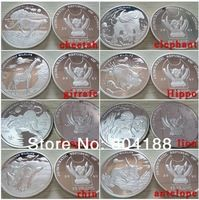 Hot selling coins !!!!8 different design  worldwide animal coins souvenir silver plated coins.free shipping 80pcs/lot