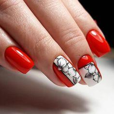 Pin on nails Nail Art Designs Videos, Red Nail Designs, Nail Designs Spring, Nail Polish Designs, Nails Design, Cute Nails, Pretty Nails, Nail Art Fleur, Line Nail Art
