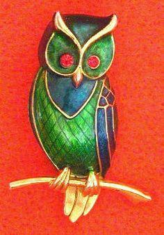 Vintage Marcel Boucher Enamel Owl pin