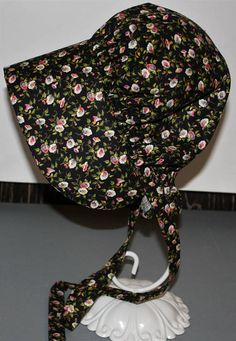Black with Pink Flowers  Pioneer Bonnet/Sun Hat