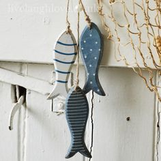 Blue Mix Wooden Fish Hanging Trio
