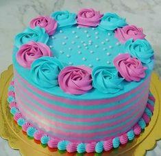 New Birthday Cake Easy Decorating Butter Ideas Cake Decorating Techniques, Cake Decorating Tips, Cupcakes, Cupcake Cakes, Beautiful Cakes, Amazing Cakes, New Birthday Cake, Round Cakes, Girl Cakes