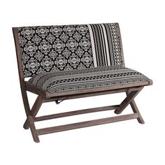 Sheesham & Jacquard Folding Bench