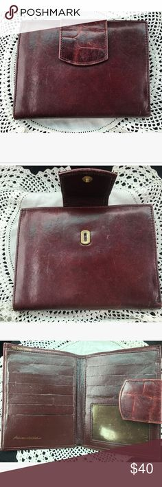 Vtg. 1950s Maroon Princess Gardner Leather Wallet Excellent condition Tri- told large sized wallet made of 🔴full grain cowhide leather🔴. Just like grandma or mom used to carry 💕Has enough slots and compartments for every card you need to carry, as well as an I.D slot. Built in change purse on back of wallet. Very Etienne Aigner as far as quality and construction. 10/10 condition Vintage Bags Clutches & Wristlets
