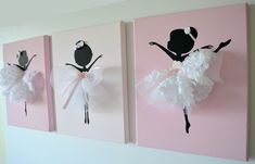 Set of three dancing von FlorasShop Diy And Crafts, Crafts For Kids, Arts And Crafts, Ballerina Birthday, Art Mural, Little Girl Rooms, Wall Art Sets, Girl Nursery, Diy Art