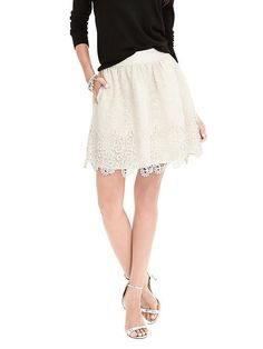 Love this skirt! The lace, color, and style are awesome! Banana Republic. Heritage Lace Fit-and-Flare Skirt