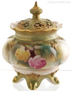 Royal Worcester Hadley Roses Lidded Vase