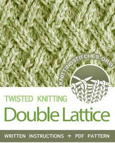 Twisted Knitting Stitches. #howtoknit the Double Lattice Stitch. FREE Written instructions, PDF knitting pattern. #knittingstitches #knitting