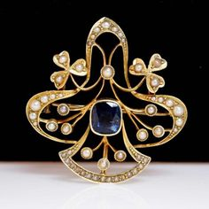 Antique-Hand-Constructed-Sapphire-Pearl-Late-Victorian-Brooch-Pendant-Pin