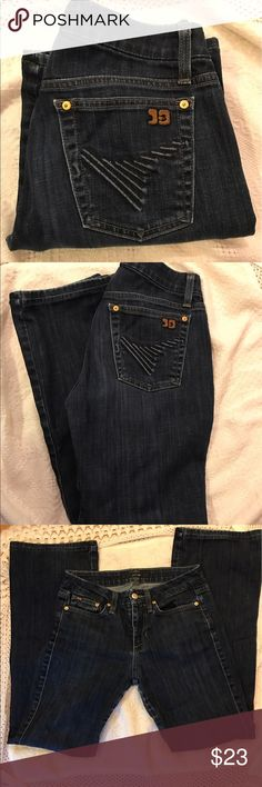 Joes bootcut denim jeans Barely worn designer Joes denim jeans! They have a super cute & unique design on the back pockets that accentuate your booty in a classy way. Bootcut size W 26. If you know your designer jeans then you are familiar with the high quality of Joes jeans and how amazing they fit and feel! Normally these jeans are very costly so this is a steal! They're a must have! Joe's Jeans Jeans Boot Cut