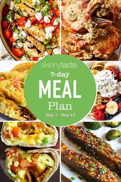7 Day Healthy Meal Plan (Sept 7-13) Real Food Recipes, Cooking Recipes, Healthy Recipes, Greek Recipes, Healthy Meals, Weight Loss Meal Plan, Weight Watchers Meals, Meal Prep Cookbook, 7 Day Meal Plan