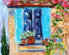 Blue Shutters and Window Flowers painting original oil 12x12 abstract palette knife impressionism on canvas fine art by Karen Tarlton