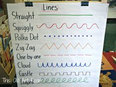 This week Kindergarten and 1st grade reviewed types of lines {our Line Alphabet}. I had made this anchor...