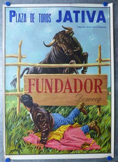 TOROS Vintage Spanish Bullfighting Poster Litho 1967 JATIVA FUNDADOR DOMECQ #Vintage