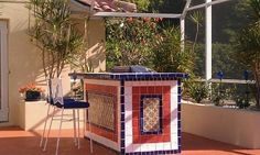 Mexican Tile In The BBQ Area, Mexican Home Decor Gallery. Mission Accesories, Copper Sinks, Mirrors, Tables And More