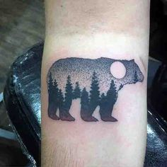 inner-forearm-bear-forest-moon-tattoo-on-man.jpg (600×600)