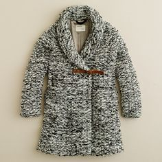 Girls' shawl-collar coat in snowfinch tweed