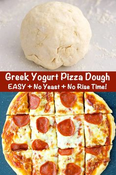 This Greek Yogurt Pizza Dough is quick and easy to make with a few staple ingredients, doesn't have yeast or a rise time, and produces tasty homemade pizzas! Customize these healthy pizzas with your favorite toppings, and enjoy them for lunch, dinner, or anytime a pizza craving hits! #pizza #pizzadough #greekyogurt #greekyogurtpizza #easypizza #noyeast #easyhomemadepizza #healthypizza   That Spicy Chick Yogurt Pizza Dough, Easy Pizza Dough, Healthy Homemade Pizza, Healthy Pizza, Pizza Recipes, Cooking Recipes, Healthy Recipes, Cooking Stuff, Healthy Meals