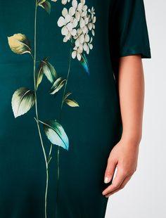 "HERBARIUS T-shirt in jersey con stampa, verde scuro - ""VERONA"" Marina Rinaldi"