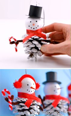 These pinecone snowman ornaments are SO CUTE and really easy to make! This is such a fun Christmas craft for kids of all ages using dollar store supplies! Christmas Crafts For Adults, Homemade Christmas Decorations, Winter Crafts For Kids, Christmas Ornament Crafts, Snowman Crafts, Homemade Christmas Gifts, Kids Christmas, Handmade Christmas, Holiday Crafts