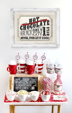 Polar Express Hot Chocolate Pack Red - INSTANT DOWNLOAD - Editable & Printable Birthday Christmas Party Decorations by Sassaby
