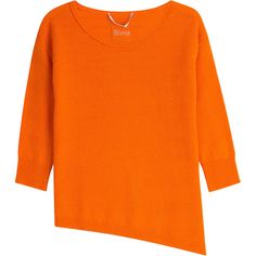 81 Hours by Dear Cashmere Cashmere Pullover (168,110 KRW) ❤ liked on Polyvore featuring tops, sweaters, orange, 3/4 sleeve tops, stripe sweater, loose pullover sweater, pullover sweater and 3/4 sleeve sweaters