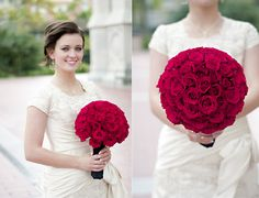 red rose bouquet for the bride. I would use white fabric wrapped around the stems to hold them with.