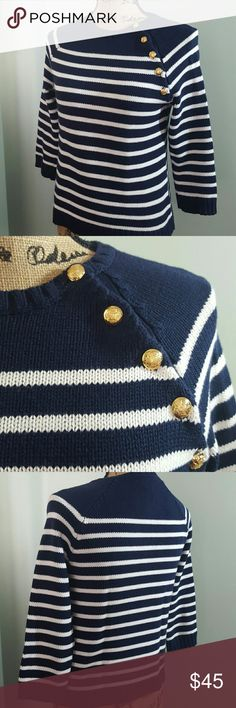 Ralph Lauren Long Sleeves Sweater Top LAUREN Ralph Lauren Signature Petite Sweater Top in Gorgeous Gold Buttons Details,  Dark Navy Shade with White Stripes! Made in Hong Kong with 100% Cotton! Perfect Buddy for Cool Weather in Elegant Style! Excellent Used Condition! Lauren Ralph Lauren Sweaters