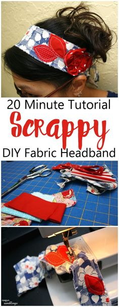 DIY headbands in 10 minutes.  Perfect use of fabric scraps, easy sewing crafts tutorial and pattern.