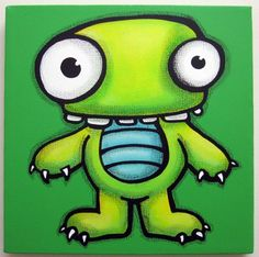 eNVy - 12x12 original painting on canvas, monster wall art, monster theme decor for kids or nursery