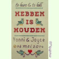 Wedding gift to have and to hold cross stitch